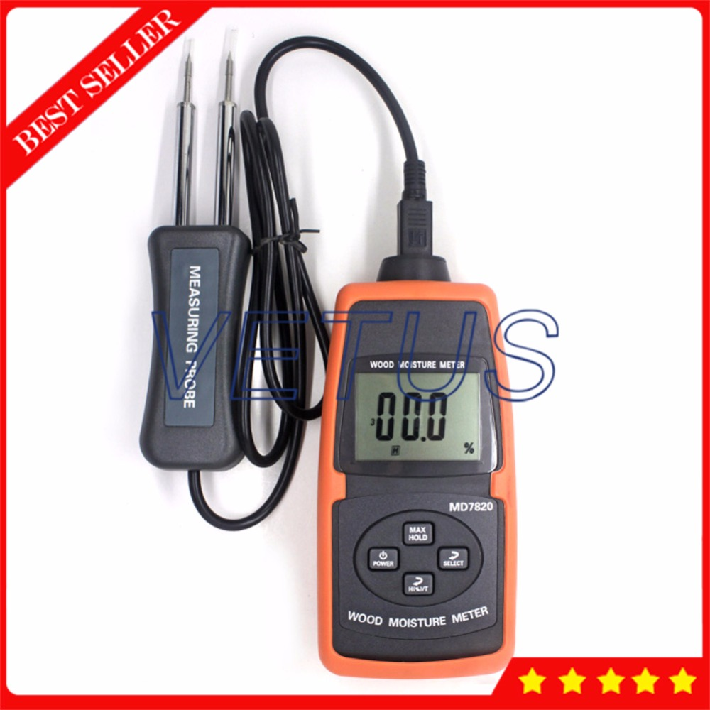 MD7820 Digital LCD Display Wood Moisture Meter Tester Analyzer digital wood moisture meter wood humidity meter damp detector tester paper moisture meter wall moisture analyzer md918 4 80%