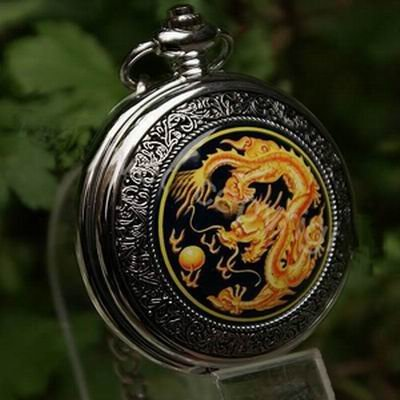 Free Shipping Hot Sale Quartz Dragon Pocket Watch with Chain Best Gift