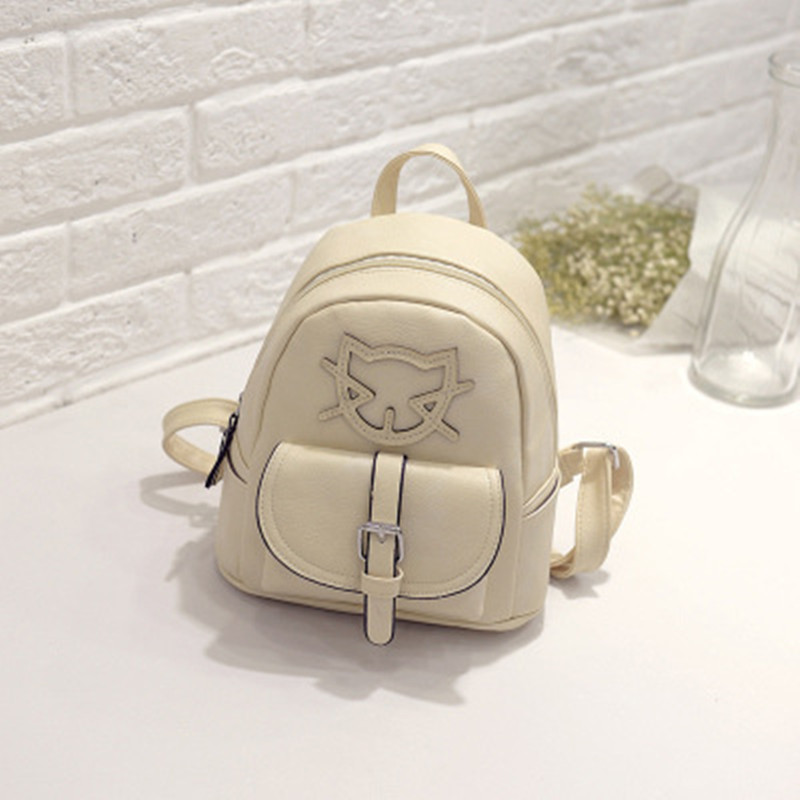 Casual Beige PU Women Backpacks Cat Pattern Traveling Bag Zipper Fashion Schoolbag Adjustable Straps elegant pu girl s schoolbag casual traveling bag women backpacks adjustable straps royal blue
