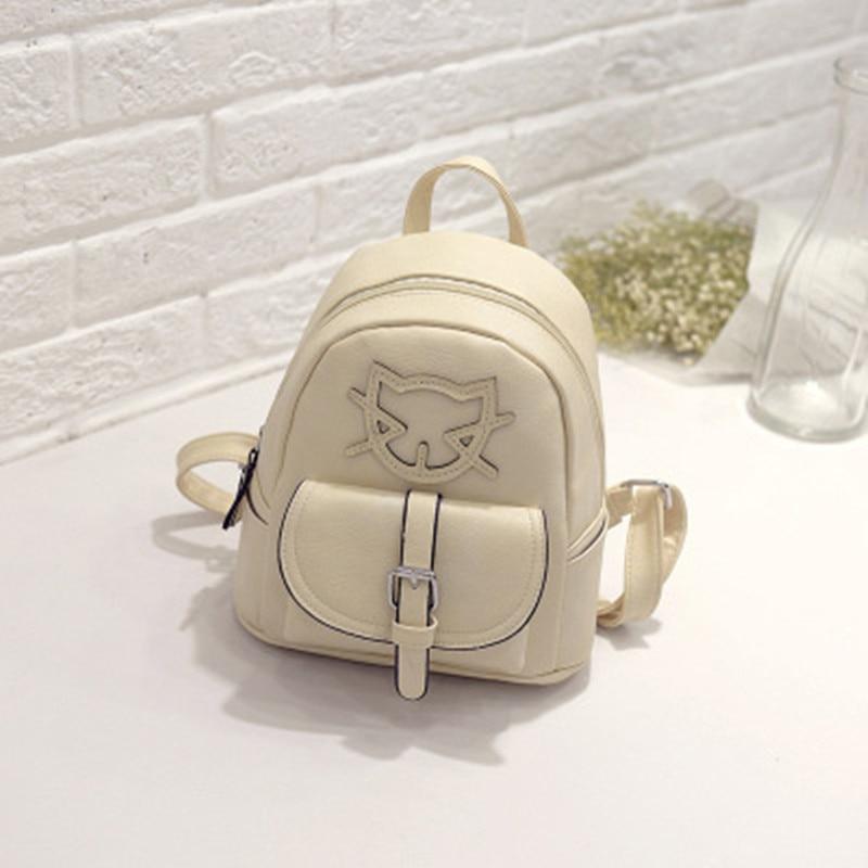 Casual Beige PU Women Backpacks Cat Pattern Traveling Bag Zipper Fashion Schoolbag Adjustable Straps бра sland катрин beige