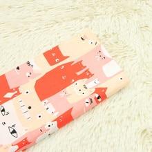 half meter cartoon cat print fabric cotton poplin cloth handmade DIY garment dress children T537