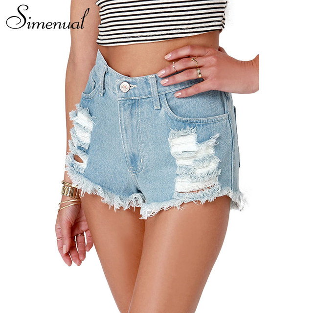 Simenual Vintage ripped denim shorts women clothing summer tassel sexy hot high waist short feminino hole retro women's shorts
