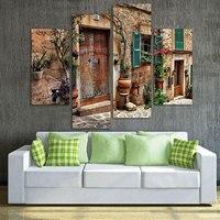 캔버스 벽 예술 건축 사진 인쇄 홈 Decor4 패널 벽 예술 거리 오래된 꽃 문