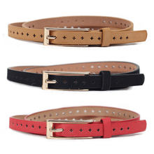 Women Ladies Hollow Pattern Metal Buckle Faux Leather Waistband Waist Belt BLTLL0101