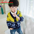 New Autumn Winter New Kids Clothes  Boys Long Sleeve V-neck Print Single Breasted Sweater Fashion Clothing for Boys 2 Colors