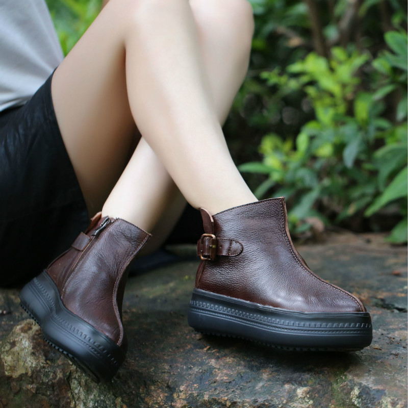 Women Genuine Leather Ankle Boots 5 CM High Heel Brown Autumn Leather Martin Boots Women Buckle Fashion Handmade Lazy Shoes 2018 цены онлайн
