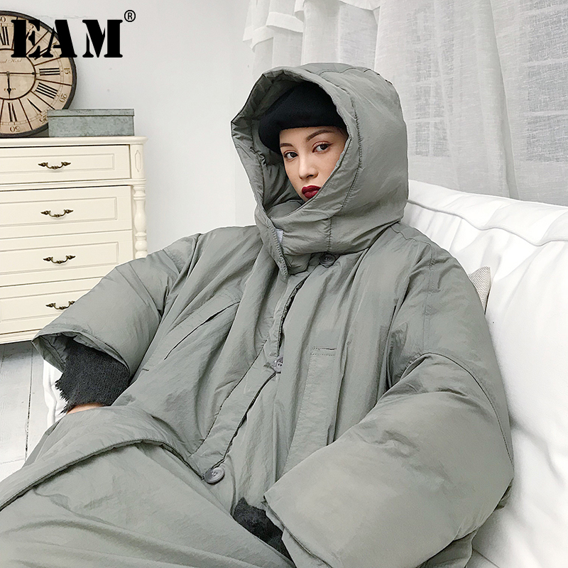 [EAM] 2019 New Spring Hooded Long Sleeve Gray Cotton-padded Warm Large Size Side Button Coat Women   Parkas   Fashion JE020