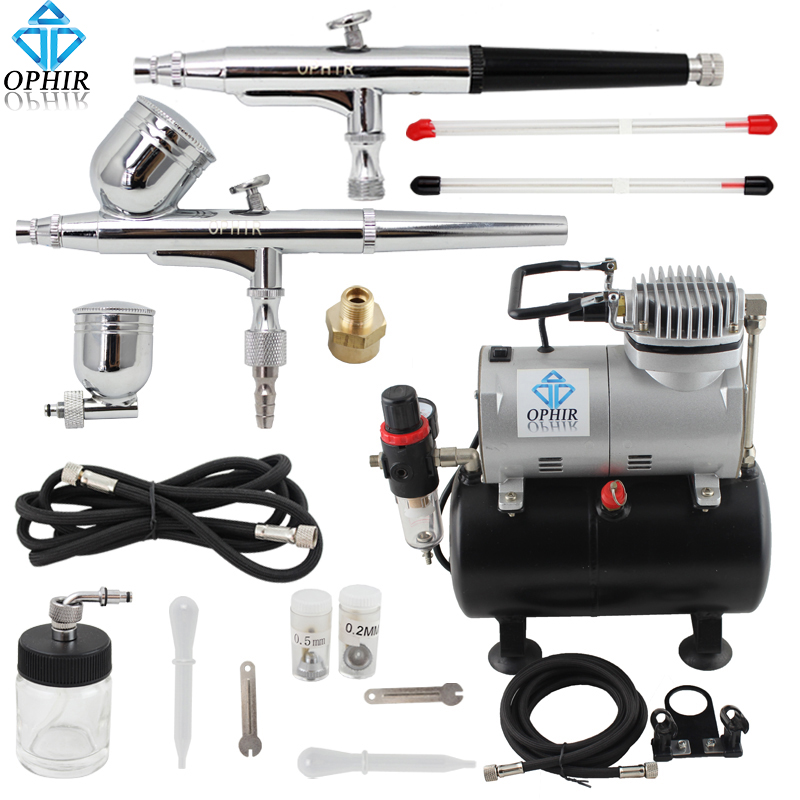 OPHIR Pro 2x Dual Action Airbrush Kit with Air Tank Compressor for Tanning Body Paint Temporary Tattoo Spray Gun _AC090+004A+074 ophir 0 4mm single action airbrush kit with 5 adjustable mini air compressor cake airbrush gun for makeup body paint ac094 ac007