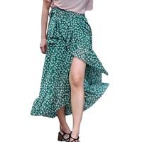 Maxi Elegant Skirts For Women 2018 Summer Holiday Irregular Ruffles Bohemian Skirts Womens Printed Long Skirt Fashions
