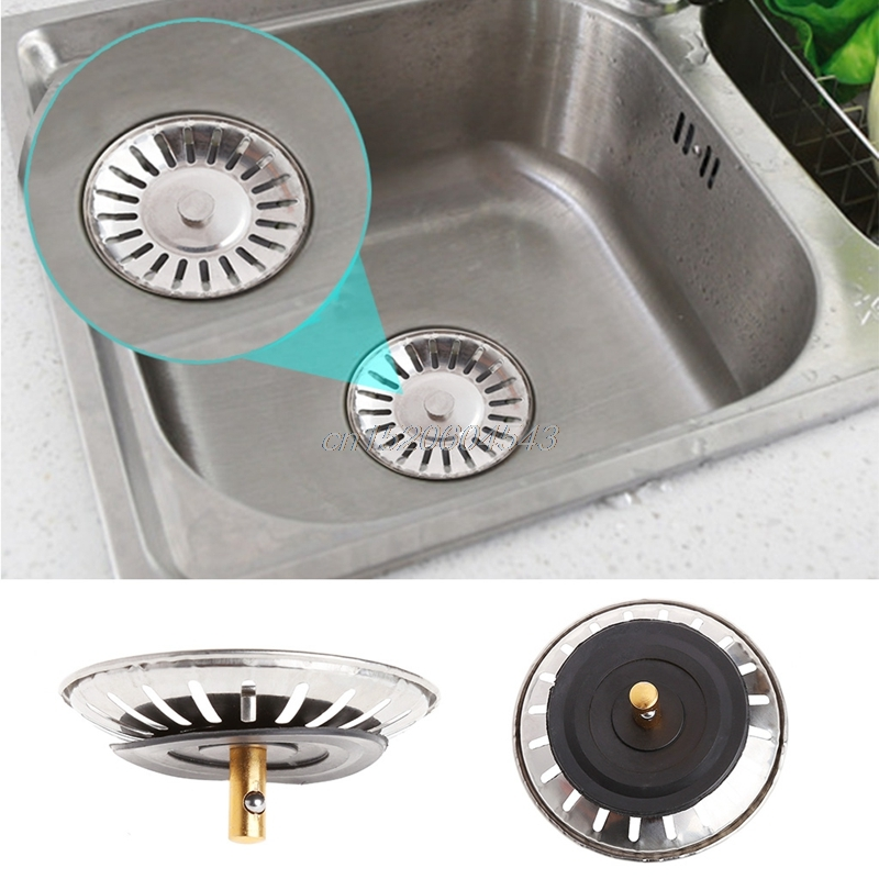 Kitchen Stainless Steel Basin Drain Dopant Sink Strainer Basket Waste Filter R06 Drop Ship