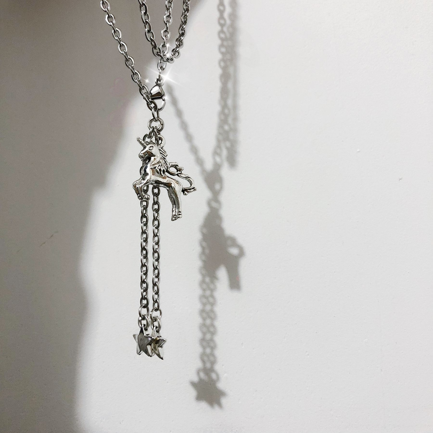 Europe and America Unicorn Necklace Long Pentagram Pendant Clavicle Chain Retro Old Joker Necklace Cool Girl Disco Necklace in Pendant Necklaces from Jewelry Accessories