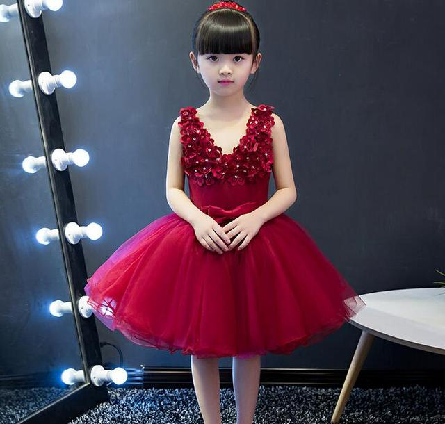 New Arrival Red Tulle Exquisite Flower Princess Girl Dress Kids Baptism  Party Prom dress Girls Wedding Birthday Gown 8c9d3c366ed4