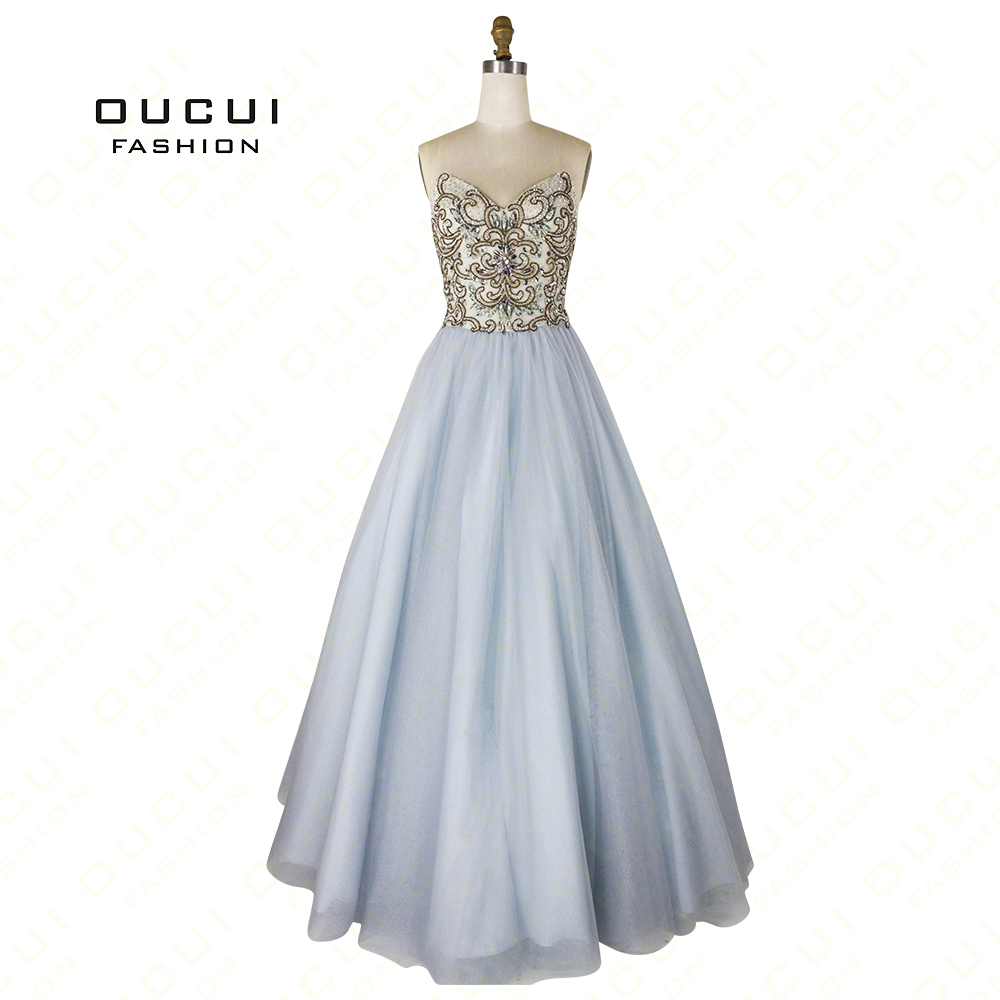 Simple Tulle Sweetheart Beaded Handmade Ball Gowns Long   Prom     Dresses   Elegant Party Sexy Backless Oucui OL102757 Robe De Soiree