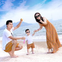 Mom and Son Clothing Summer Family Match Outfit Daddy Son Cotton T Shirt + Shorts Mother Girl Dress Family Look 2018 New