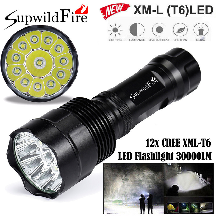 Super Bright 30000Lm 12x CREE XML T6 LED 5Mode 18650 Flashlight Torch Light Lamp 170509 super bright 11000 lumen 9 x cree xml t6 led torch 5 mode flashlight with extendable arm powered by 18650 rechargeable battery