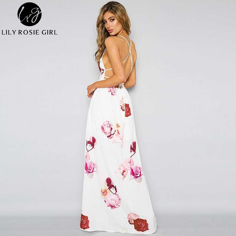 daeda5454ba ... Lily Rosie Girl Deep V Neck White Floral Women Dress Off Shoulder Sexy  Strap Summer Beach ...