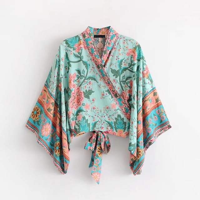 Blusas bohemias Women Kimono Cardigan Floral Print Sexy Cross Deep v neck Summer Blouse Boho Wrap Shirt Tie Waist Cropped Top
