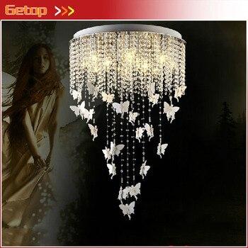 Лучшая цена круглая хрустальная люстра для гостиной, спальни, креативный ангельский кристалл, светодиодный потолочный светильник