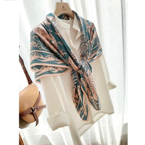 Image 4 - Fabulous Large Square 100% Silk Scarf Shawl Wraps for Women Luxury Silk Scarves Foulard 110cm