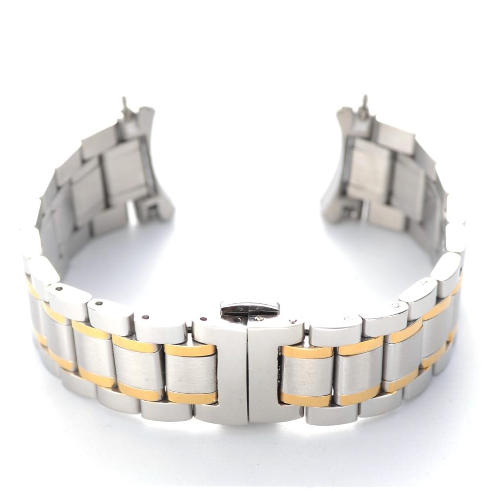 Klassisches Design Armband aus gebogenem Edelstahl mit gebogenem Kopf und Schmetterlingsschnalle 19 mm 20 mm 21 mm Silber Silber & Gold