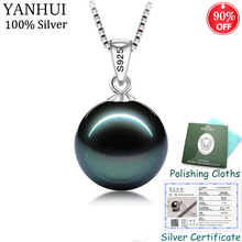 Sent Certificate! Original 925 Solid Silver Pendant Necklace Women Gift Natural Pearl Necklace Wedding Jewelry for Bride CHN01 [meibapj]real natural golden prehnite pendant necklace with certificate 925 pure silver fine jewelry for women