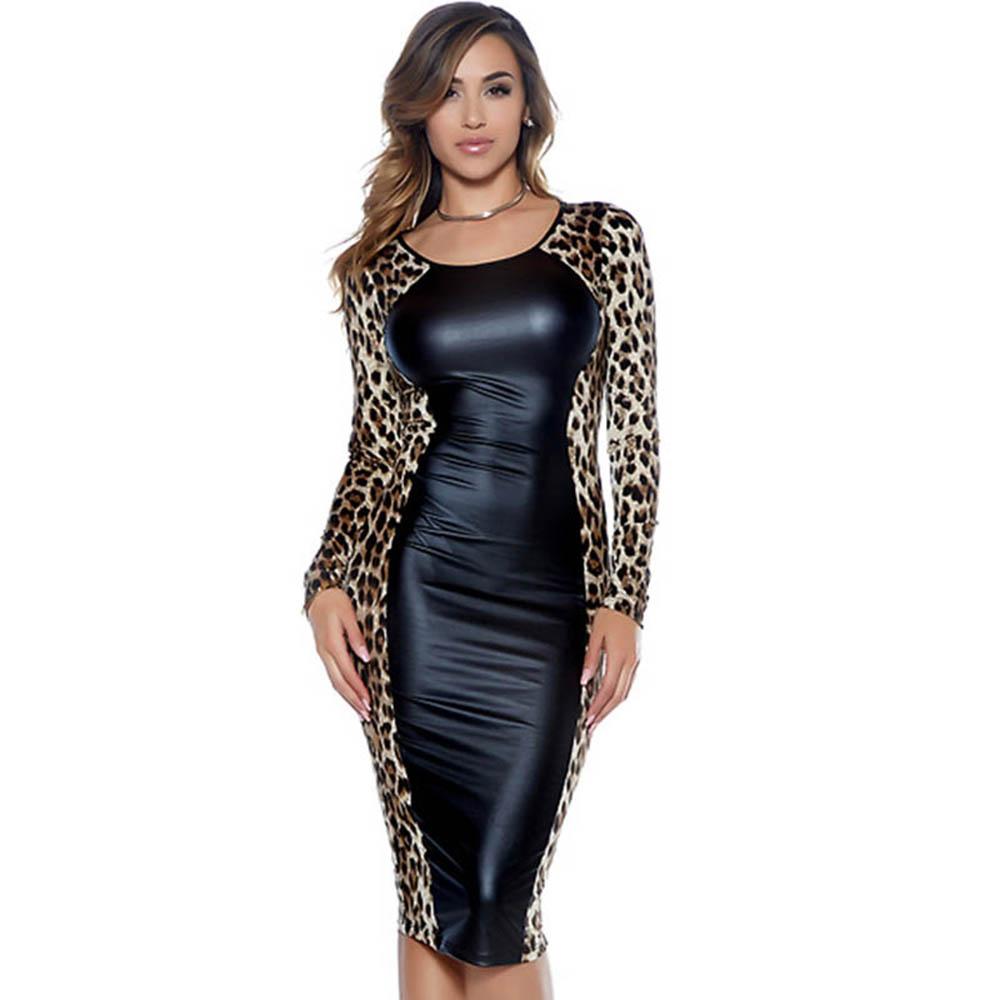 Vintage Leopard Printed Long Sleeve Autumn Dress Sexy Vinyl Leather Club Party Dress Women O-Neck Bodycon Midi Dresses Vestidos