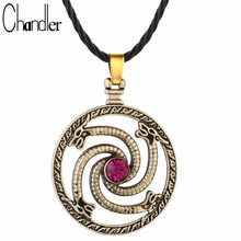 Chandler 1pc Round Talisman Knot Dragon Pendant Necklace Valknut Viking Slavic Wolfs Dragon With Red Stone CZ Ancient Party Gift