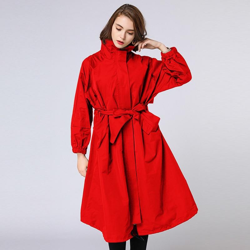 red down Col Ceinture Coupe Taille Grande coat Trench Queechalle Turn Femmes 2018 Hiver Femme Coupe Élégante Lâche Automne vent Black Vêtements Avec wqxnqv1z