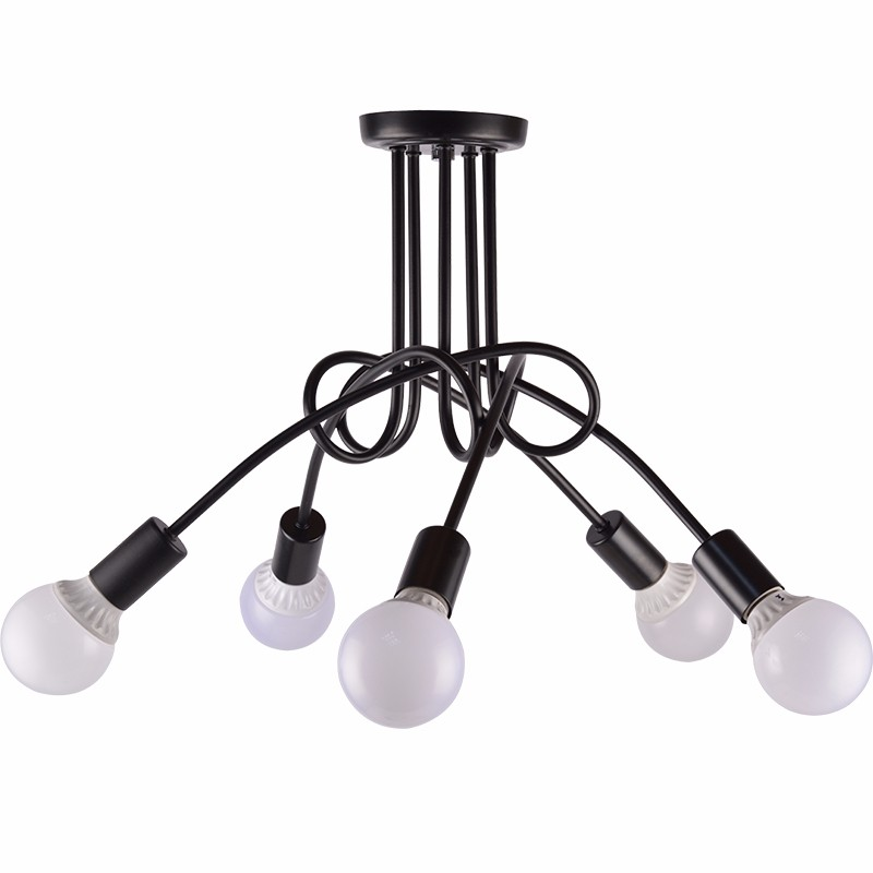 Kung Simple Creative Black red white 5 Light ceiling lamp G95 6W led lamp vintage modern brief led ceiling light free shipping гарнитура creative ma 200 red black