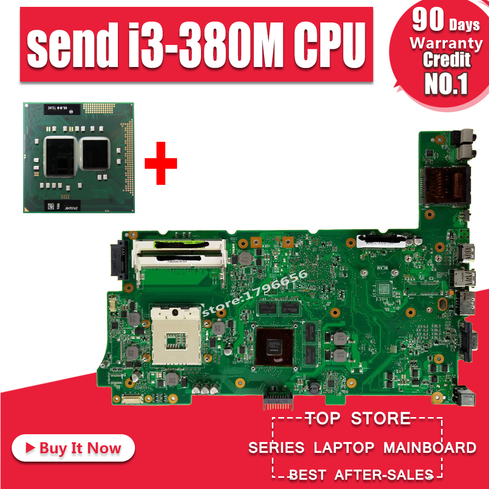Send I3-380M CPU For ASUS N73S N73SV N73SM Laptop Motherboard Tested 100% Work Mainboard GT 415M 1G Video Card 2RAM SLOT