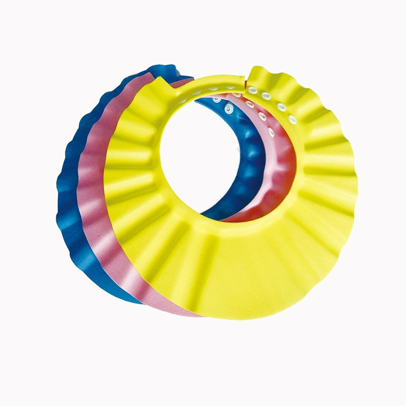 3pcs EVA Plastic Solid Resizable Bath Shower Hair Wash Baby Shampoo Cap Hat With Ear Bathing Protect Cap For Kids Baby