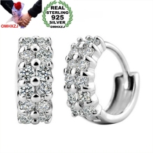 OMHXZJ Wholesale hot selling Fashion jewelry Lovely girl sexy woman double row round 925 Sterling Silver Stud Earrings YS39