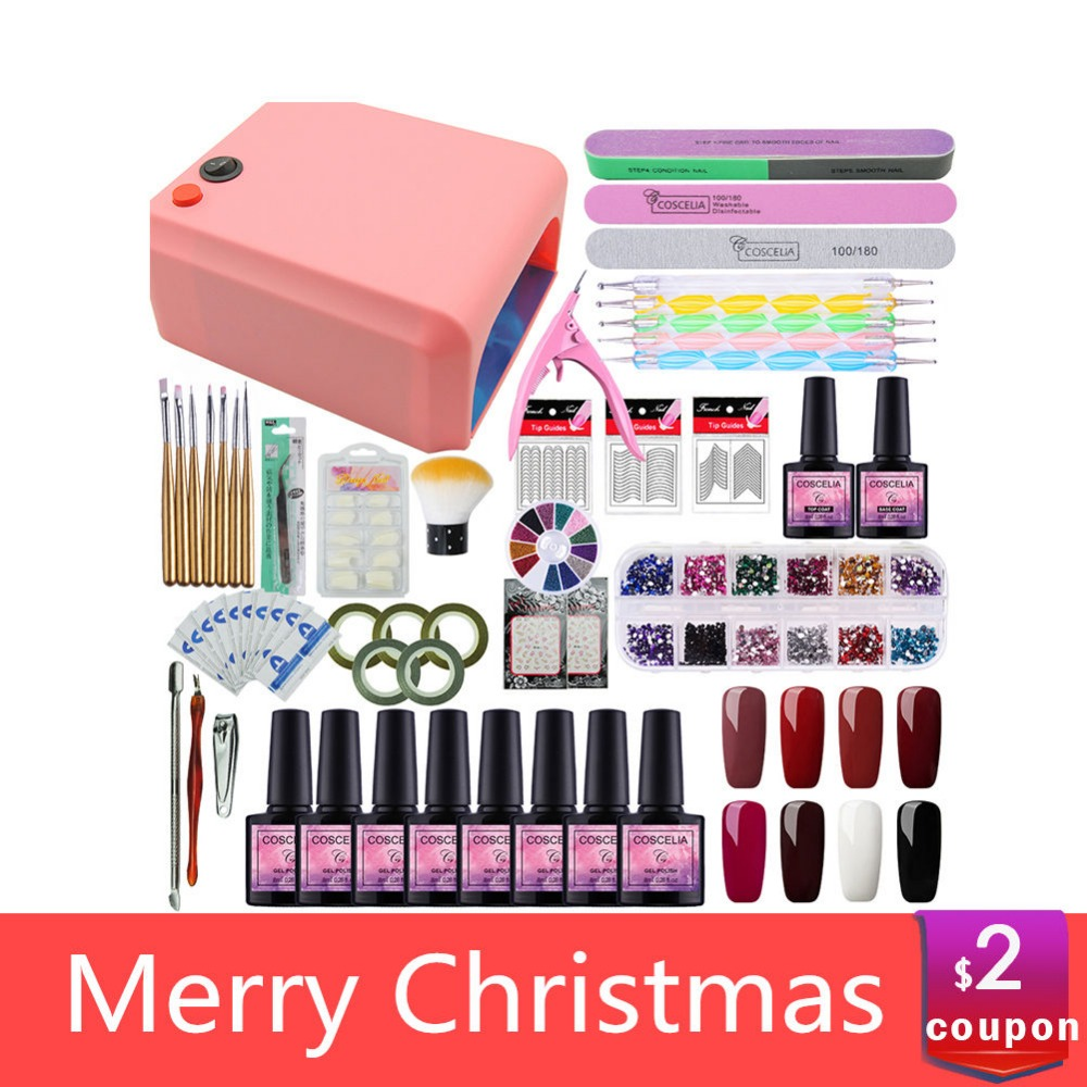 COSCELIA de uñas de manicura Kit Gel barniz 8 Color Gel UV polaco 36 w lámpara LED Gel barniz esmalte de uñas, UV máquina