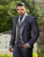 2017 One Button Slim Fit Customized Charcoal Wedding Ceremony Mens Suit Groom Tuxedos bridegroom ( Jacket+Pants+Tie+Vest)