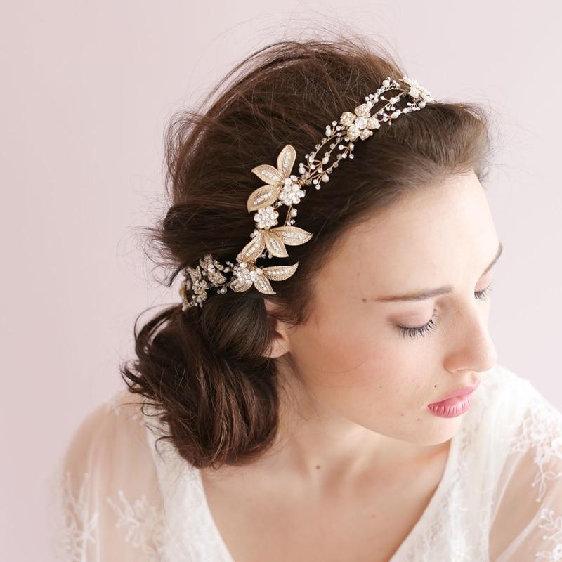 High-end barok blomsterhovedkranser Brude perle sølv hårbånd - Beklædningstilbehør - Foto 1