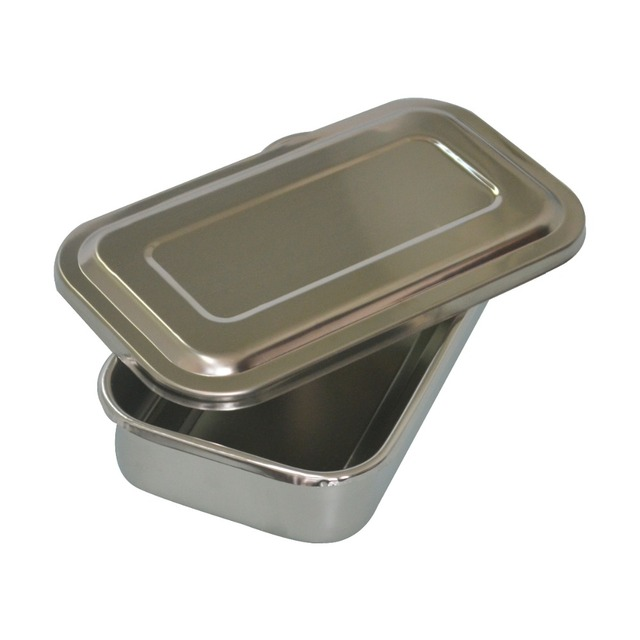 1Pc Stainless steel at high temperature and high pressure disinfection box medical storage cassette cover dish sterilizer 8 inch