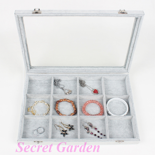 Wholesale High Quality Gray Ice Velvet Ring Bracelet Eearring Necklace Beads Sample Jewelry Tray Box 12 Compartments