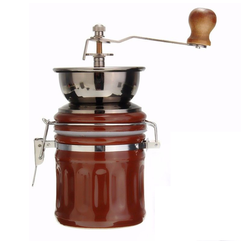 Retro Stainless Steel Ceramic Manual Coffee Bean Grinder Nut Mill Hand Grinding Tool manual ceramic coffee grinder mini stainless steel adjustable bean miller hand made design ceramic coffee maker grinding machine