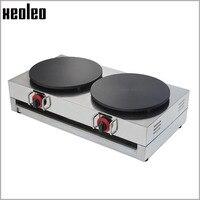 XEOLEO Double plates Gas Crepe maker Commercial Crepe Maker Machine Double Head Gas Crepe Rotating Maker Machine Non sltick