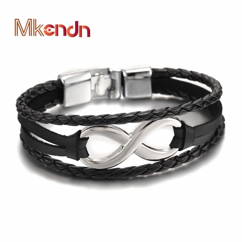 Горячая Распродажа, высококачественный браслет MKENDN с символом бесконечности, браслет из натуральной кожи, ручная цепочка с пряжкой, дружба,...