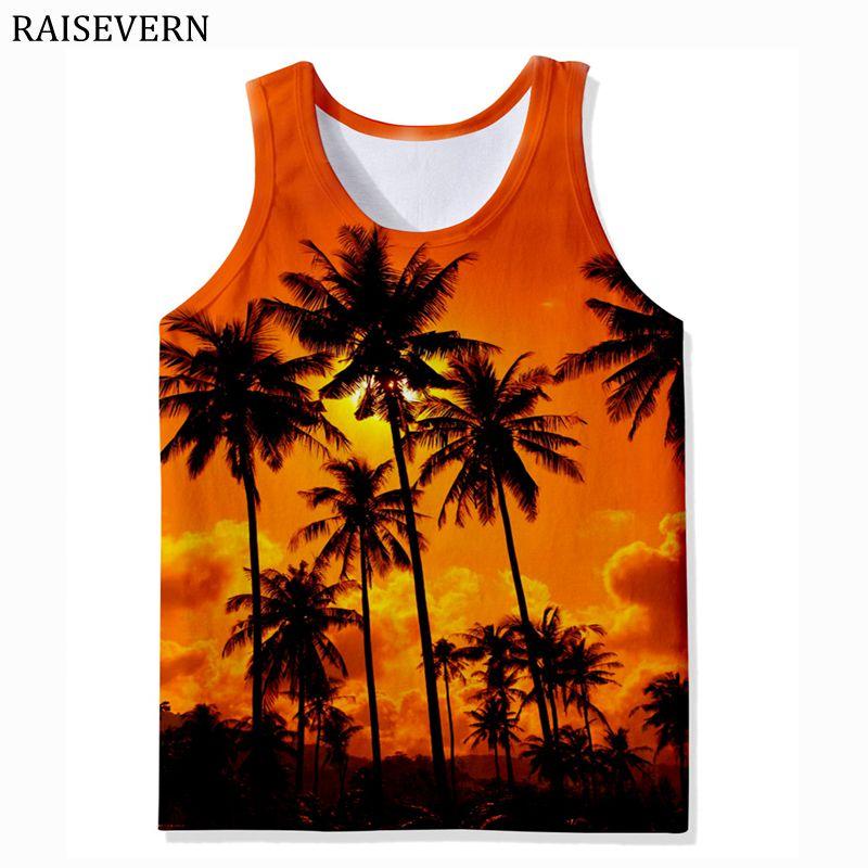 2019 Coco Tree 3D Print Vest Men   Tank     Top   Fitness Sleeveless Shirt Male Men Clothing Sportswear Undershirt Beach Summer