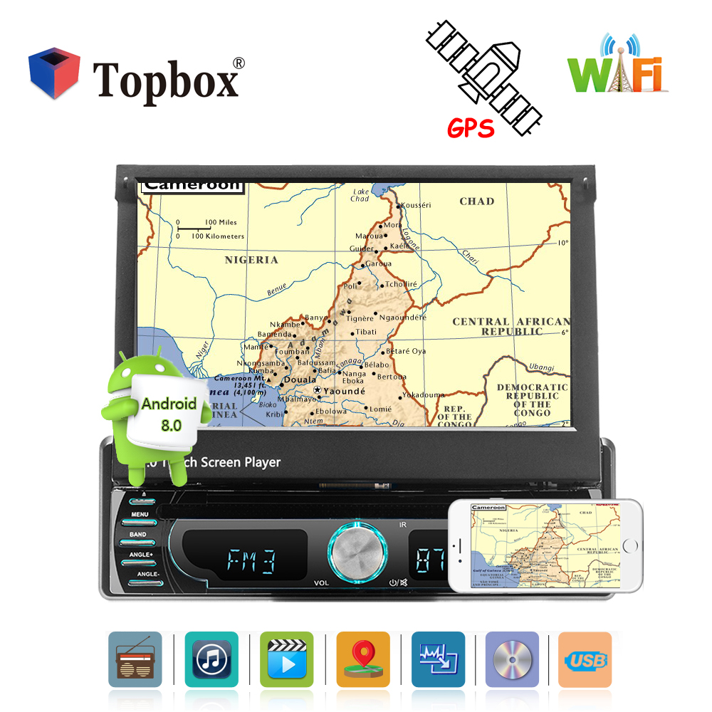 Topbox 1 Din Android Car Multimedia Radio 7 Inch Car Styling Autoradio Android Car Audio Player with BT/Wifi/GPS/Mirror Link/MP5