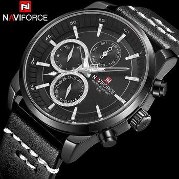 NAVIFORCE 9148 Men Watch Leather Quartz Watches Mens Waterproof Sport Watch with box