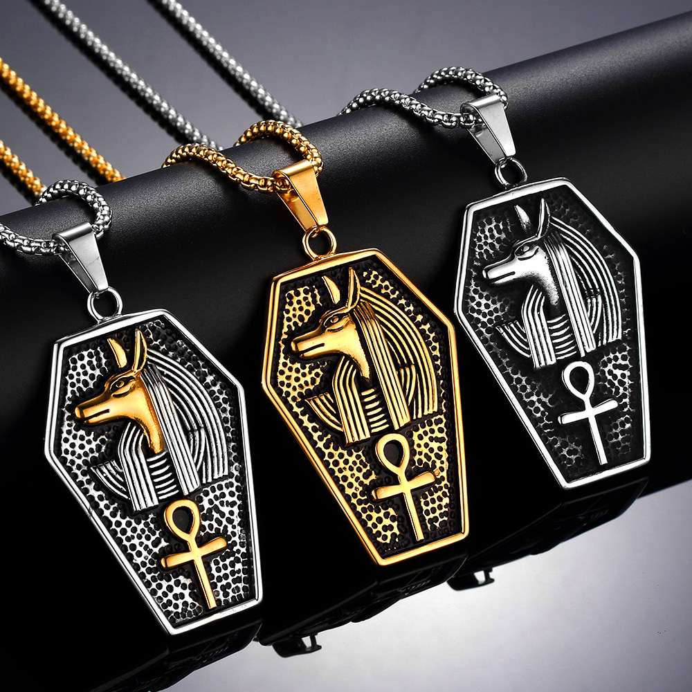 High Quality Anubis Men's Stainless Steel Pendant Necklace for Male Vintage  Egyptian Symbol of Life Pendant Ketting Collier-in Pendant Necklaces from