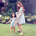 Family look matching autumn mom summer new fashion collar strapless casual girls mother daughter dresses clothes