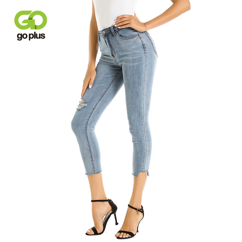 Goplus Blue Distressed Denim Jeans Women Casual High Waist Button Fly Ripped Pants 2019 Ankle-Length Holes Skinny Jeans C7855