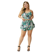 WHZHM Summer Strap Plus Size 3XL 4XL Sets Women Loose Casual Parrot Printed Two Pieces V-Neck Beach Crop Tops and Short Pant