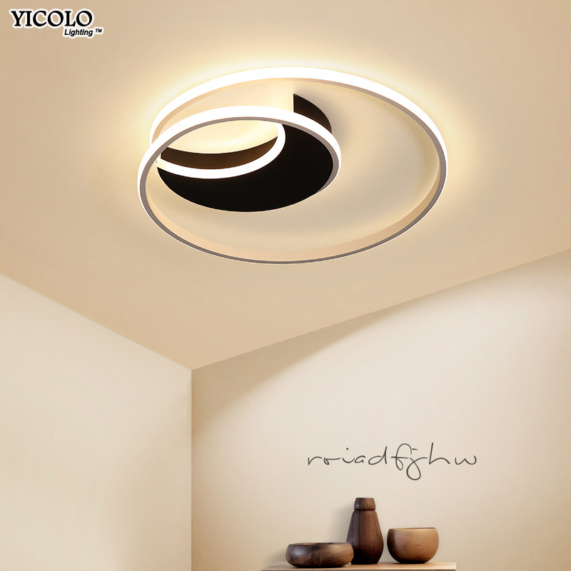 New LED Ceiling Lights For Bedroom Dining Room Surfaced Mounted Indoor White Black Lamp Lighting Fixtures Dero Lamparas De Techo
