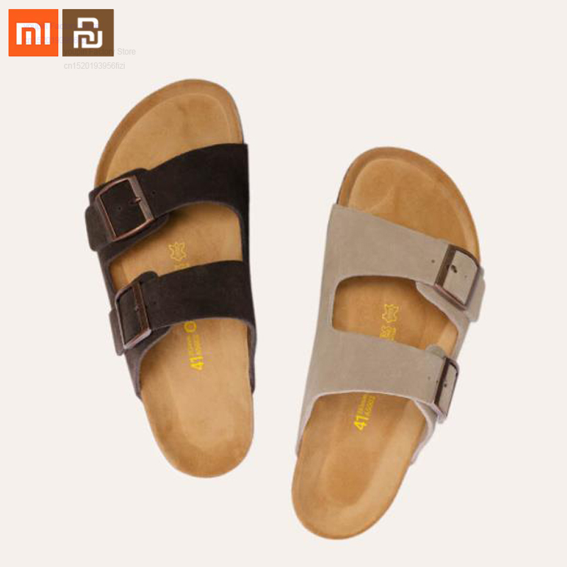 2 color original xiaomi mijia wild suede cork sandals slip wear-resistant high quality slippers smart home(China)