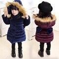 Roupas de inverno 2016 das crianças meninas acolchoado casacos moda engrosse quente arco menina casacos para as meninas do bebê com capuz crianças outerwears